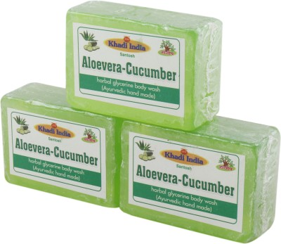 Khadi India Santosh Aloevera-Cucumber Harbal Glycerin Body Wash Soap (Ayurvedic Hand Made) (Pack of 3)(3 x 125 g)