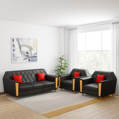 Kurlon Crescent Leatherette 3 + 1 + 1 Black Sofa Set