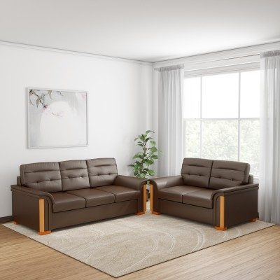 Kurlon Flory Leatherette 3 + 2 Brown Sofa Set