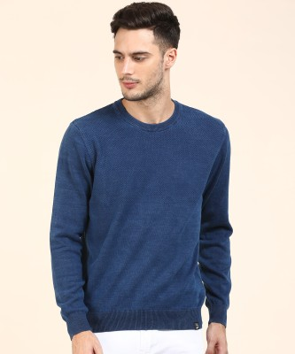 Lee Solid Round Neck Casual Men Blue Sweater at flipkart