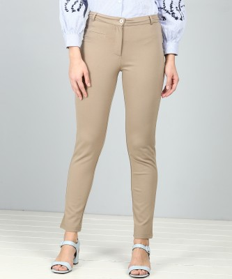 AND Slim Fit Women Beige Trousers