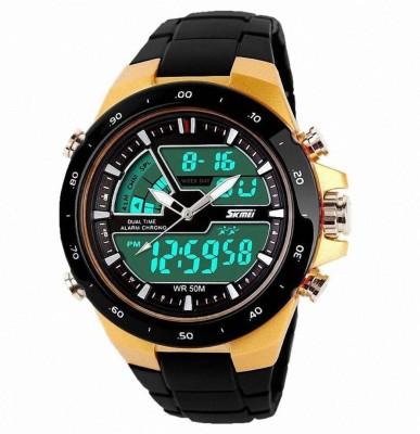 SKMEI 1016 Gold Chronograph Analog Digital Watch   For Men   Women SKMEI Wrist Watches