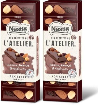 Nestle Les Recettes de l'Atelier Hazelnuts, Raisins & Almonds (45% Cocoa) Bars(2 x 100 g)