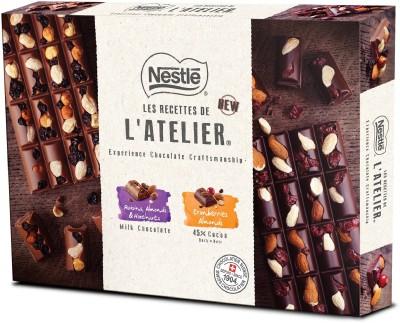 Nestle Les Recettes de l'Atelier Gift Pack, Dark Cranberries Almonds and Raisins, Almonds & Hazelnuts Milk Chocolate - Bars(3 x 195 g)