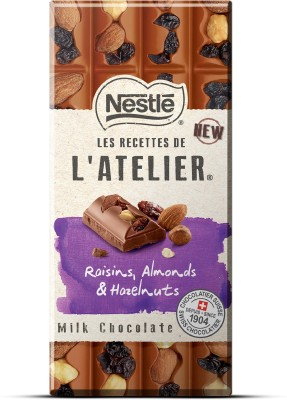 Nestle Les Recettes de l'Atelier Raisins, Almonds & Hazelnuts Milk Chocolate Bars(195 g) at flipkart