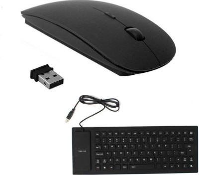 ROQ Silicone Rubber Waterproof Flexible Wired USB With Slim Wireless Mouse Wired USB Multi-device Keyboard(Black) Flipkart