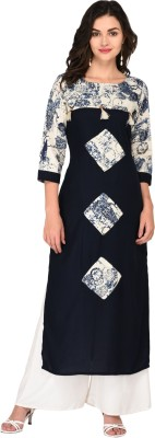 Ayan Women Printed Straight Kurta White, Blue