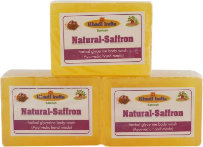 Khadi India Santosh Natural Saffron Harbal Glycerin Body Wash Soap (Ayurvedic Hand Made) (Pack of 3)(3 x 125 g)