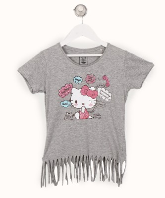 Miss & Chief Girls Casual Cotton Blend Top(Grey, Pack of 1) at flipkart