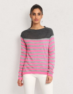 Metronaut Striped Round Neck Casual Women Multicolor Sweater