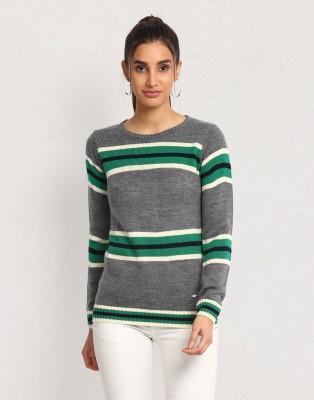 METRONAUT Striped Crew Neck Casual Women Multicolor Sweater