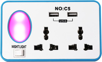 CARECROFT USB Socket Wall Mobile Cell Phone Charger Switch Multi Ports Plug Adapter Night Light Converter Charing Power Modular outler 10 A Two Pin Socket
