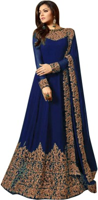 YOYO Fashion Faux Georgette Embroidered Semi-stitched Salwar Suit Dupatta Material(Semi Stitched)