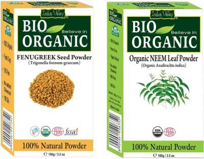 Indus Valley Bio Organic Fenugreek powder and Pure Neem Powder for Hair Regrowth- Set of 2(200 g)