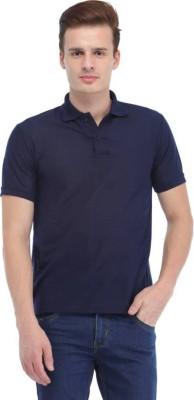 Van Heusen Solid Men Polo Neck Dark Blue T-Shirt