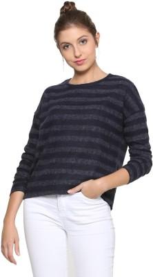 People Casual Regular Sleeve Striped Women Dark Blue, Grey Top