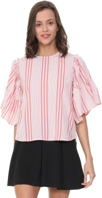 People Casual Flared Sleeve Striped Women Pink Top