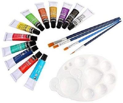 DOZEN Artist Quality 12ml Gouache Color Tubes Set with 4 Paint Brushes & Palette, 12 Colors Set