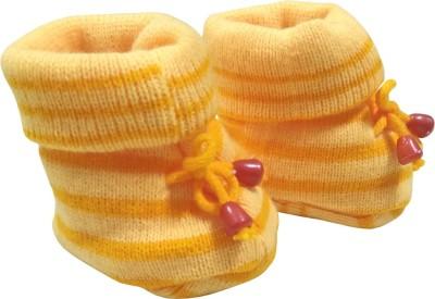 KidBee Booties(Toe to Heel Length - 12 cm, Yellow,Orange)