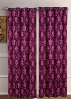 Flipkart SmartBuy 213 cm (7 ft) Polyester Door Curtain (Pack Of 2)(Floral, Purple) at flipkart