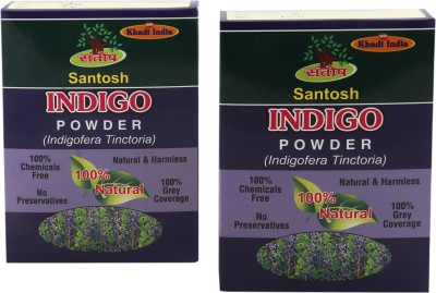 Khadi India Santosh Organic Natural & Harmless Indigo Hair Powder- Pack of 2x100 g(100 g)