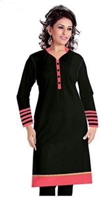 FabTag  - Jaytextile Women Striped Straight Kurta(Black)
