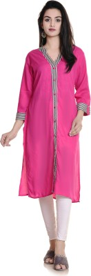 Gujari Women Printed Straight Kurta(Beige, Light Blue)