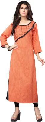 TexStile Women Self Design Straight Kurta(Orange)