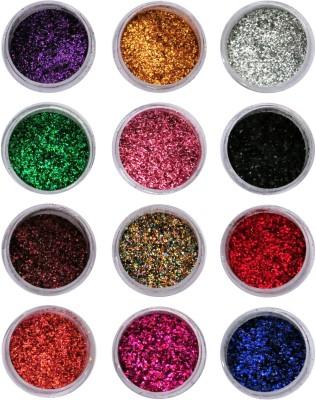 Vozwa Beautiful Sparkles Nail Art Glitter Powder 12 Pcs (Multicolor)(Multi)