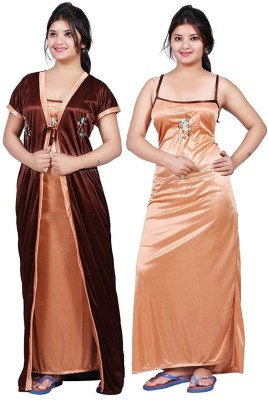 DEEP FASHIONS Women Nighty with Robe(Brown)
