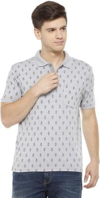 Allen Solly Printed Men Polo Neck Grey T-Shirt