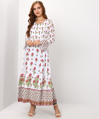 Biba Women Floral Print Flared Kurta(White) at flipkart