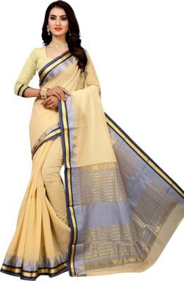 Laddeez Solid Fashion Cotton Silk Saree Beige