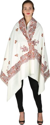 Royal Kashmir Pure Wool Floral Print Women Shawl(White)