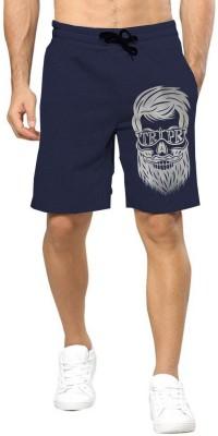 Tripr Printed Men Dark Blue Regular Shorts