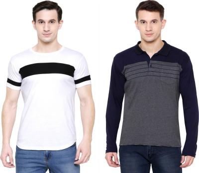 AUSTIN WOOD Striped Men Polo Neck Dark Blue, White, Grey T-Shirt