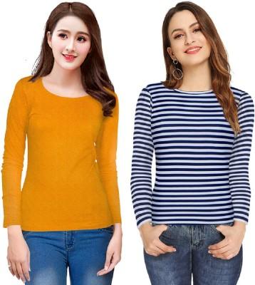 SR Fashion Casual Regular Sleeve, Full Sleeve Solid, Striped, Printed Women