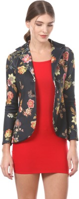 Saadgi Floral Print Single Breasted Casual Women Blazer(Black)