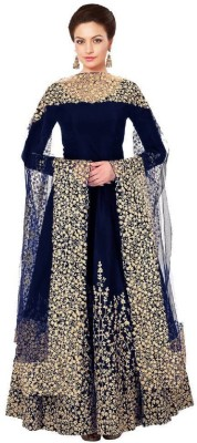dharmee Poly Silk Embroidered, Embellished Semi-stitched Salwar Suit Dupatta Material(Semi Stitched)