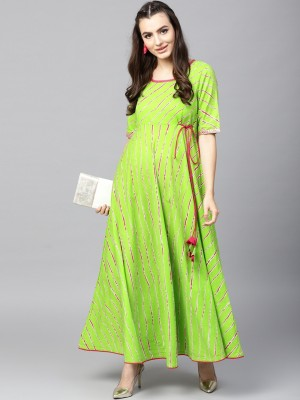Janakdulari Creation Women Printed A-line Kurta(Green)