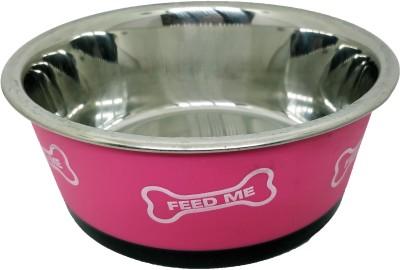 Goofy Tails Bone Print Dog Feeding Round Stainless Steel Pet Bowl(500 ml Pink)