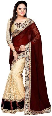 Shree Creation Embroidered, Floral Print Bollywood Georgette, Net Saree(Beige, Maroon)