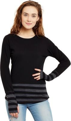 Hypernation Striped, Solid Women Round Neck Black, Grey T Shirt