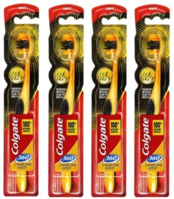 Colgate 360 Charcoal gold toothbrush soft and Slim-Tip bristles 100% Antigerm Bristles Soft Toothbrush