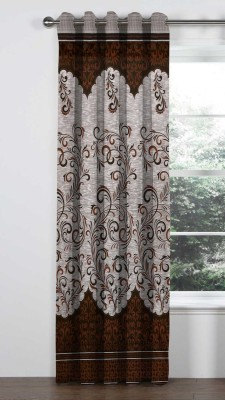 VeBNoR 212 cm (7 ft) Polyester Door Curtain Single Curtain(Floral, Printed, Brown, Beige, White)