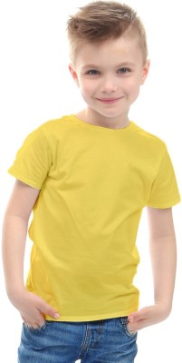 DoubleF Boys Solid Cotton Blend T Shirt Yellow, Pack of 1 DoubleF Kids' T shirts