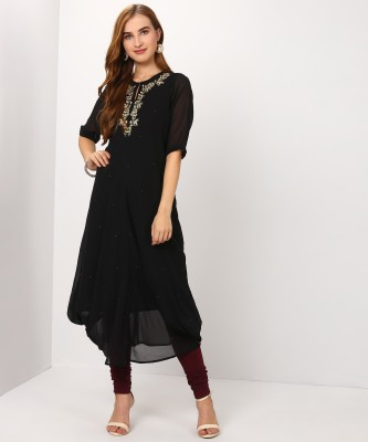 Biba Women Embroidered Asymmetric Kurta(Black) at flipkart