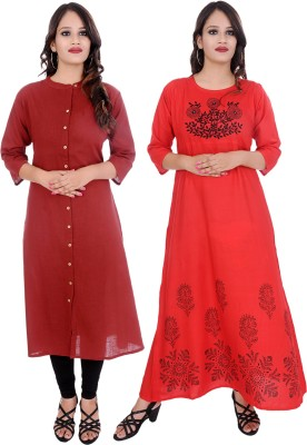 Ebury Casual Solid, Embroidered Women Kurti(Pack of 2, Maroon, Red)