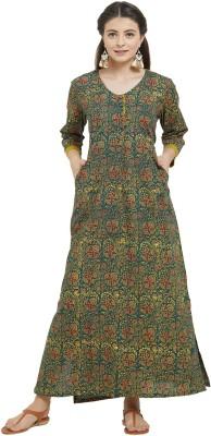 IDAR Casual Printed Women Kurti(Green)