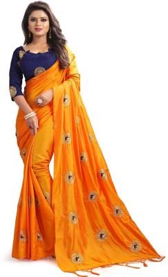 valeria Embroidered Fashion Silk Saree(Orange)